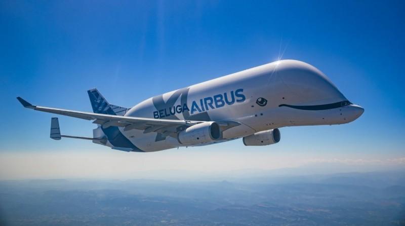 「大白鯨XL」(Beluga XL)運輸機於9日正式服役首飛。(圖擷自空中巴士網站)