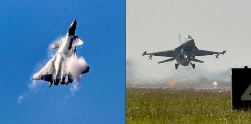 中國官媒認為,台灣F-16V戰機(右圖)無法對抗殲20戰機(左圖)。(左圖歐新社,右圖資料照)