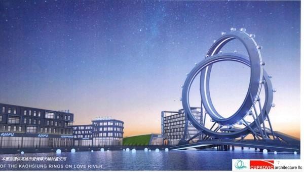 美國CUPKOVIC Architecture LLC 公司繪圖製作的「雙環無軸愛情摩天輪」,傳出已做好資金、規劃上的合作。(高市經發局提供)