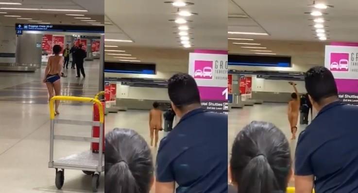 一名身分不明的女子,日前在美國邁阿密機場(Miami International Airport)於眾目睽睽下一件件脫去衣物,最後甚至一絲不掛。(擷取自推特影片)