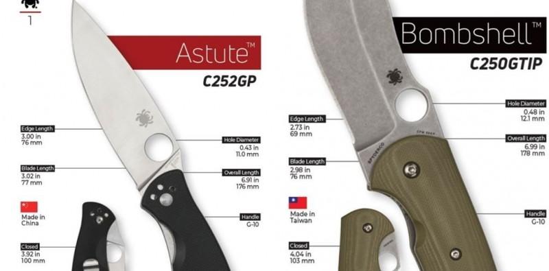 美國三大刀具商之一的「蜘蛛刀具」在產品型錄,同時放上台灣與中國國旗。(圖取自Spyderco官網)