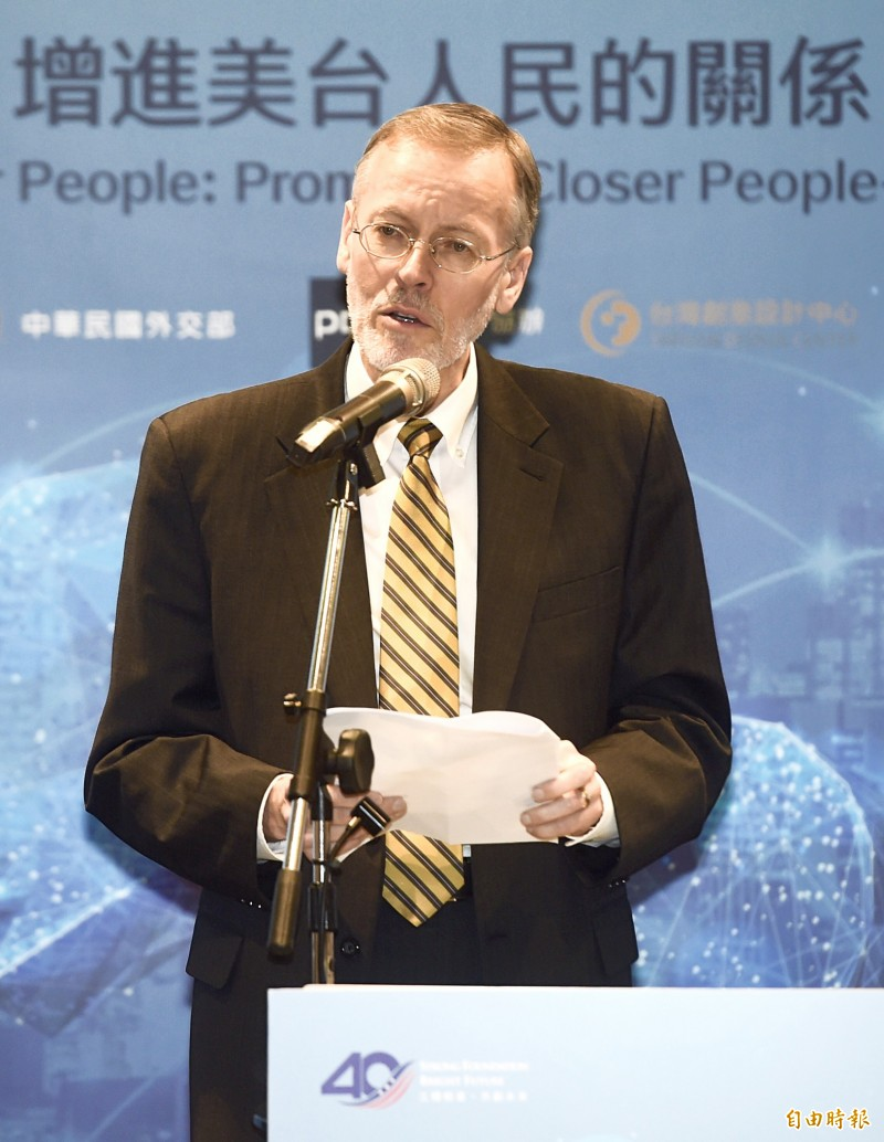 American Institute in Taiwan (AIT) Director Brent Christensen speaks at the fourth and final Digital Dialogue Public Forum cohosted by the AIT and the Ministry of Foreign Affairs at Taipei New Horizon in the Songshan Cultural and Creative Park yesterday. Photo: Chien Jung-fong, Taipei Times