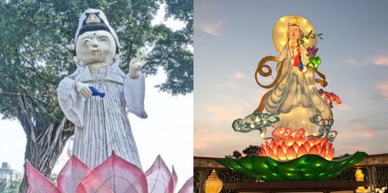 網友將2019屏東燈會的觀音(右)與2020高雄愛河擺出的觀音花燈(左)作對比。(右圖取自萬法寺,左圖Mo Ron Chan提供)
