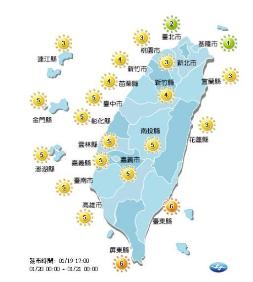 紫外線方面,明天基隆市、台北市為綠色「低量級」,台東縣、屏東縣為橘色「高量級」,其他地區則皆為黃色「中量級」。(圖片擷取自中央氣象局)