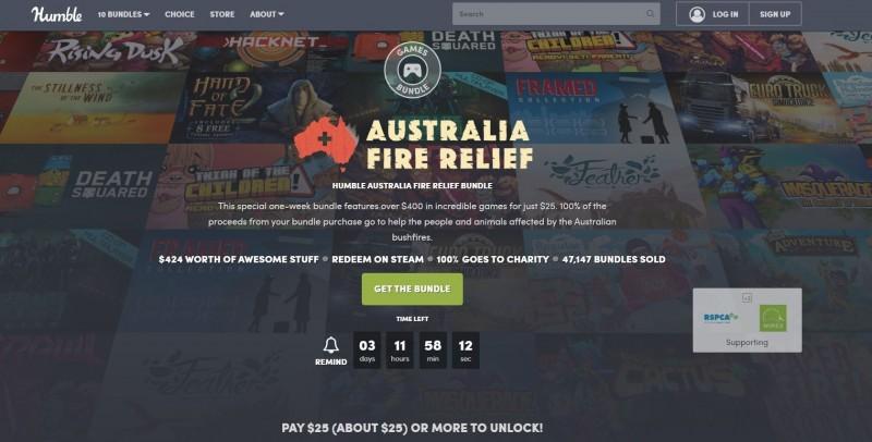 電子遊戲發行平台「Humble Bundle」在日前推出限時「拯救澳洲野火組合包」義賣活動。(圖擷取自Humble Bundle官網)