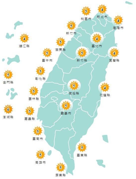 紫外線方面,明天除澎湖縣為橘色「高量級」,其他縣市皆為黃色「中量級」。(圖擷取自中央氣象局)
