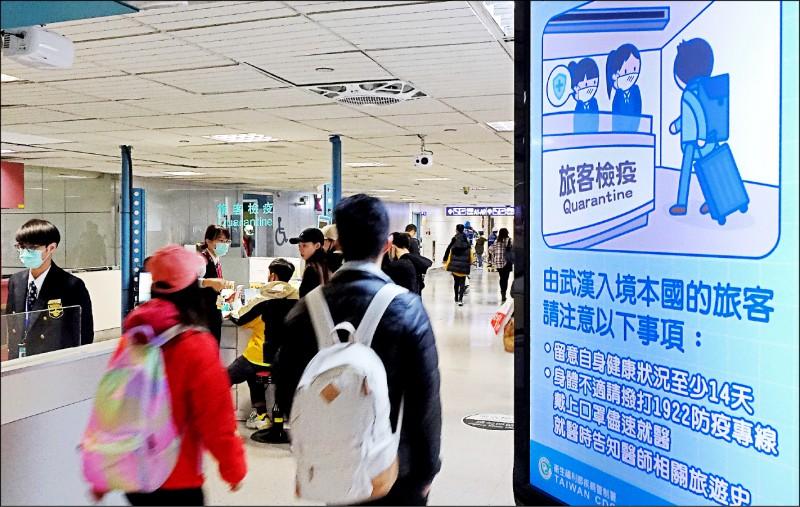 中國新型冠狀病毒肺炎疫情持續升溫,因研判中國疑有社區感染跡象且向國際蔓延,我國昨起提高防疫層級。(資料照)