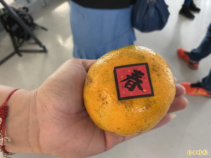 韓國瑜送橘子給記者。(記者黃旭磊攝)