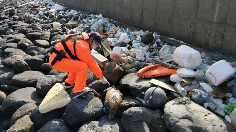 雲林麥寮許厝寮堤岸發現因擱淺死亡的海豚,初判應是有「微笑天使」之稱的保育類江豚。(第四岸巡隊提供)