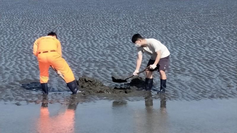 雲林麥寮許厝寮堤岸發現因擱淺死亡的海豚,初判應是有「微笑天使」之稱的保育類江豚,岸巡人員就地掩埋。(第四岸巡隊提供)
