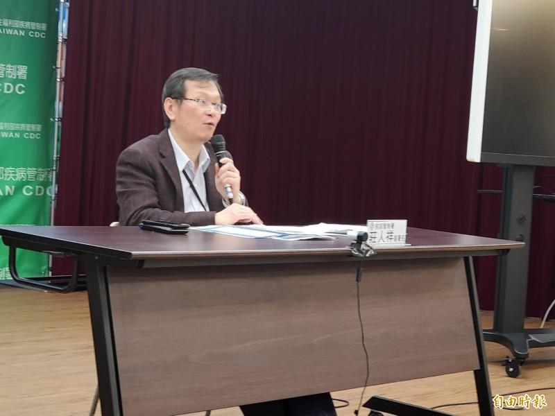 嚴重特殊傳染性肺炎中央流行疫情指揮中心發言人莊人祥說明通報個案相關情況。(記者林惠琴攝)