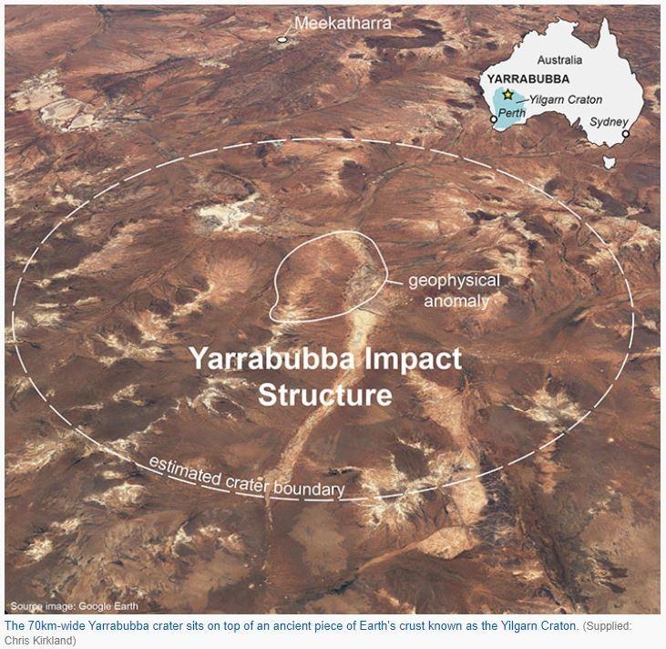 科學家最新研究確認,澳洲西部的亞拉布巴隕石坑(Yarrabubba crater),是全球已知最古老的小行星撞擊遺址。(圖擷取自澳洲廣播公司)