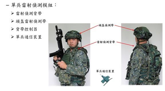 實兵模擬接戰系統中的單兵雷射偵測模組。(照片取自中華民國陸軍臉書)
