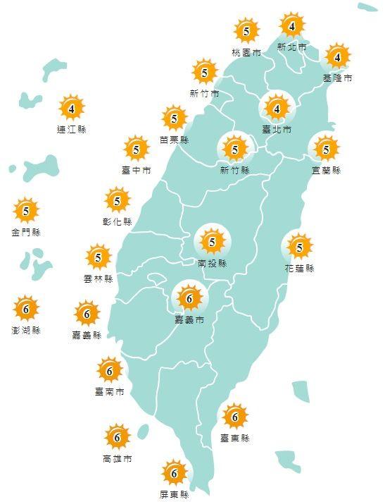 紫外線方面,明天除澎湖縣、嘉義縣市、台南市、高雄市、屏東縣以及台東縣為橘色「高量級」,其他縣市皆為黃色「中量級」。(圖擷取自中央氣象局)