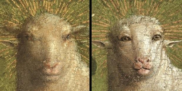 有網友製作「神秘羔羊之愛」中的小羊修復前後對比圖。(圖擷自@frajds推特)