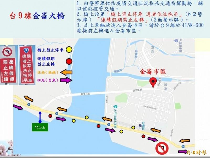 公路總局規劃的金崙大橋春節交管措施。(記者黃明堂翻攝)