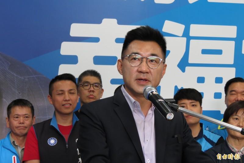 江啟臣表示,尊重朱立倫是否參選黨主席。(記者蘇金鳳攝)