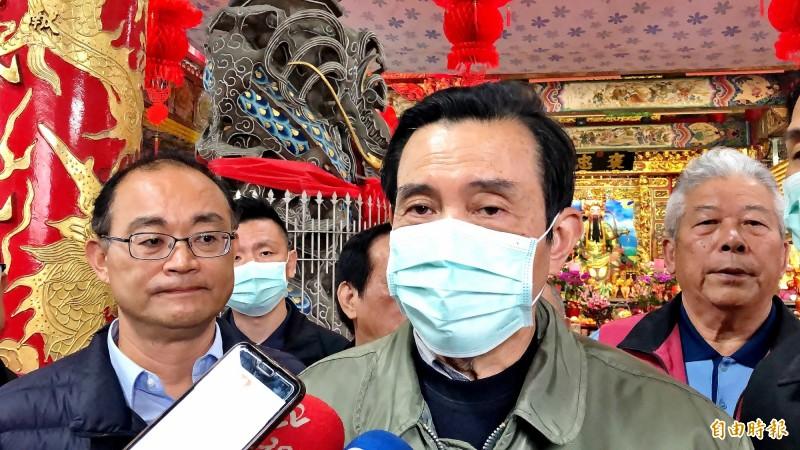 馬英九受訪時表示政府不援助中國口罩是沒氣度、沒人性、沒愛心的做法。(記者許麗娟攝)