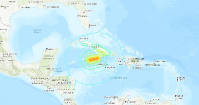 當地時間28日下午2點10分,古巴與牙買加之間的海域發生了芮氏規模7.7的地震。(照片取自美國地質調查局U.S. Geological Survey)