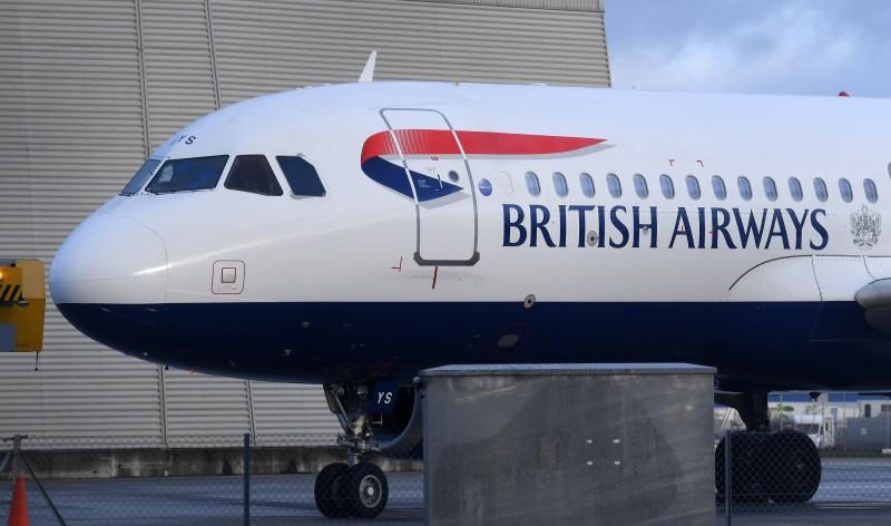 英國航空宣布暫停所有英國往返北京、上海的直航班機。(歐新社)