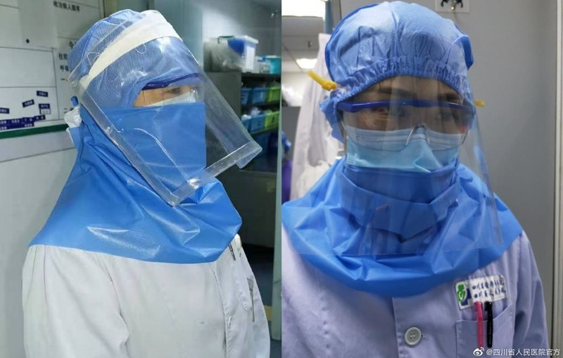 中國醫療物資匱乏,四川省人民醫院一線醫護人員以手邊材料自製面罩。(圖擷自中國四川省人民醫院官方微博)