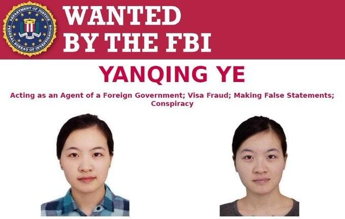 美國FBI正式通緝中國解放軍中尉葉艷卿。(圖片取自「FBI Most Wanted」推特)