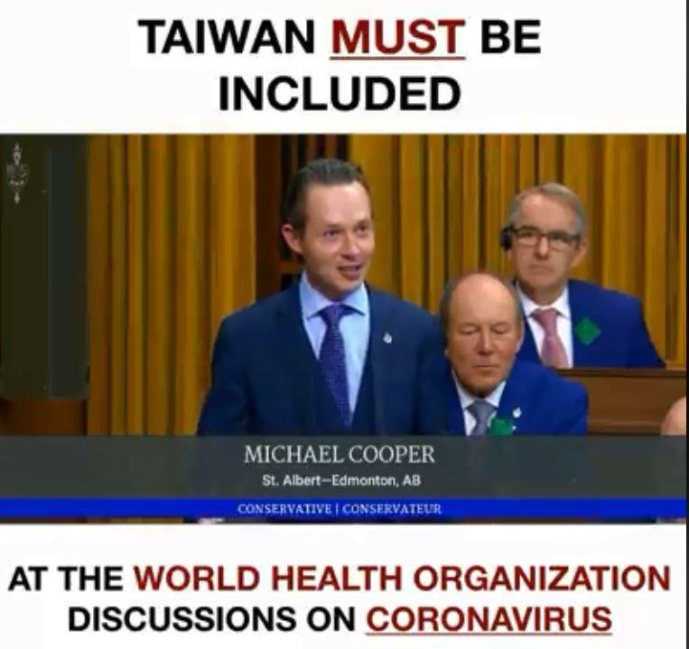 加拿大議員庫柏(Michael Cooper)堅決支持台灣納入防疫圈,網友湧入他的臉書致上誠摯的謝意,「謝謝你,庫!柏!先!生!(Thank you, Mr. C-O-O-P-E-R!)」。(圖擷取自臉書_Michael Cooper)