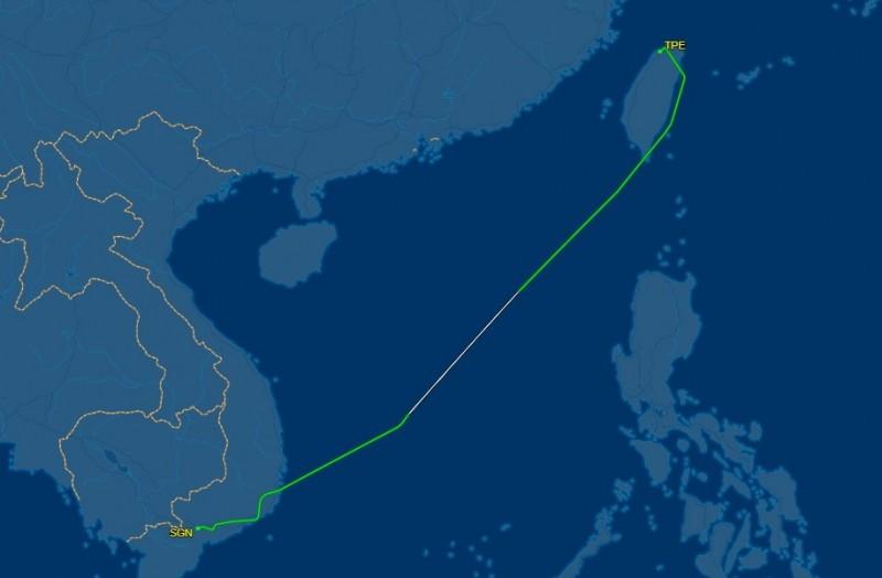 華航CI783航班已飛抵越南胡志明市。(圖擷自flightaware網站)