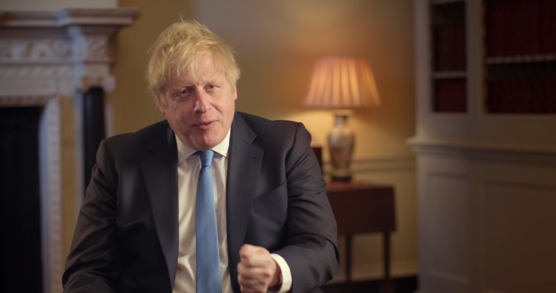 英國首相強森(Boris Johnson)說,英國與歐盟分道揚鑣是「新時代的破曉時刻」,即將迎來真正的民族復興與變革。(圖擷取自YouTube)