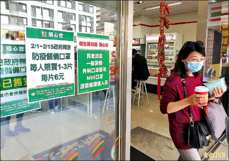 武漢肺炎持續延燒,民眾一罩難求,政府釋出到便利商店的醫療口罩也被搶購一空。(記者陳志曲攝)