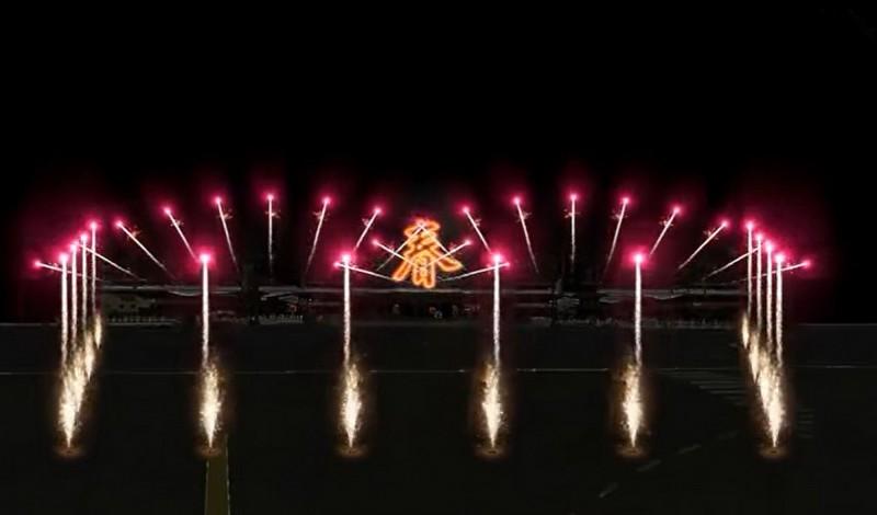 聖母廟元宵高空煙火秀啟炮儀式今年擴大為環繞聖母廟一周,屆時將十分壯觀。(記者蔡文居翻攝)