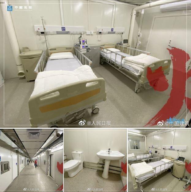 中國湖北武漢以8天時間完成的「火神山」醫院已於2日交付,今(3)日正式啟用。(圖擷取自《人民日報》臉書)