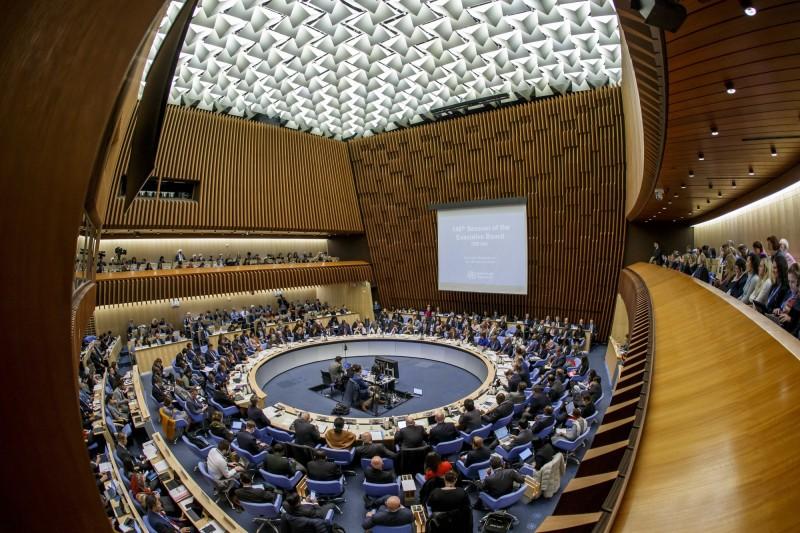 世界衛生組織(WHO)執行委員會議登場。圖為世衛秘書長譚德塞發表聲明。(歐新社)