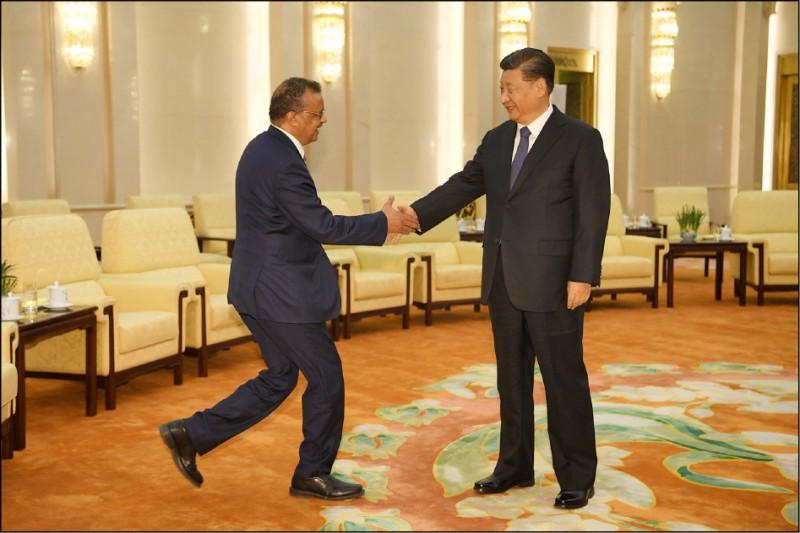 世衛秘書長譚塞德廿八日訪中對中國的溢美之詞,引發全球民眾強烈反感。(美聯社)