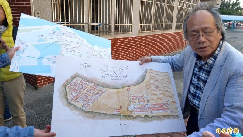台南市政府與成大合作展開大員市鎮考古發掘。(記者劉婉君攝)