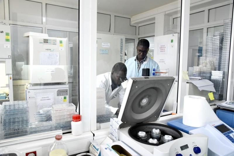 非洲疾管中心表示,本週將會額外24個非洲國家取得武漢肺炎的檢驗試劑,展開篩檢部署、嚴防疫情。圖為塞內加爾實驗室。(法新社)