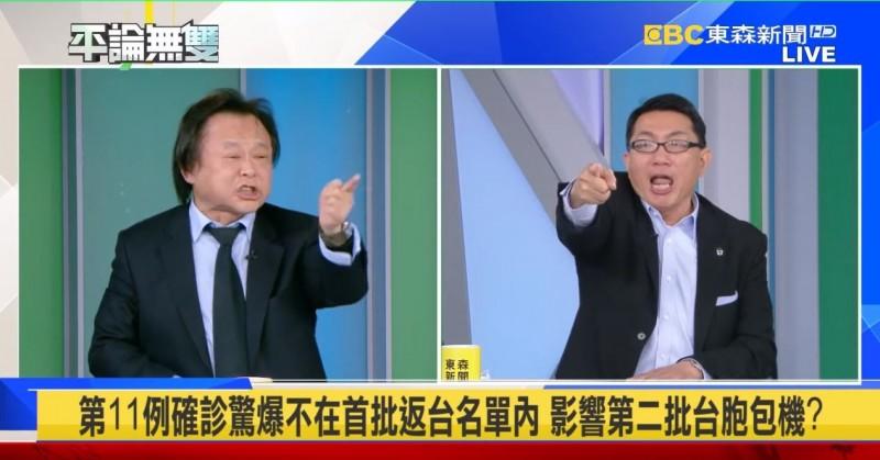 王世堅當眾怒罵徐「可恥、卑劣」。(擷取自東森新聞「平論無雙」YouTube)