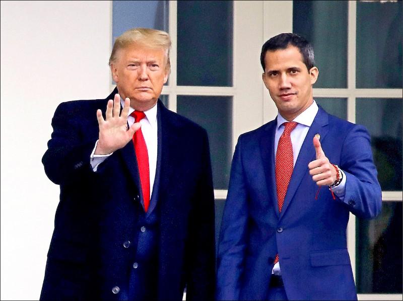 委內瑞拉反對派領袖瓜伊多,五日以國家元首身分在白宮與美國總統川普會談。(法新社)