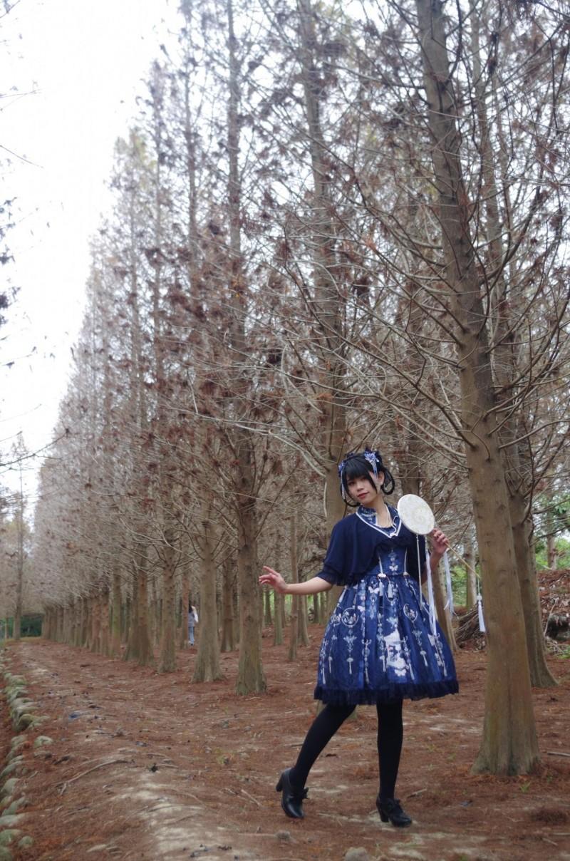 江姓正妹今天穿著中華蘿莉塔服裝,到中埔鄉落羽松森林拍照。(記者王善嬿攝)