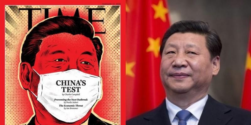 時代雜誌2月17日刊物封面亮相,是中國領導人習近平配戴口罩的畫面。(左圖取自時代雜誌,右圖美聯社)