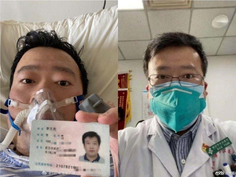 最先揭露中國武漢爆發的新型冠狀病毒(2019-nCoV,俗稱武漢肺炎)的34歲武漢中心醫院眼科醫師李文亮,7日凌晨因感染武漢肺炎病逝。(圖擷取自微博)