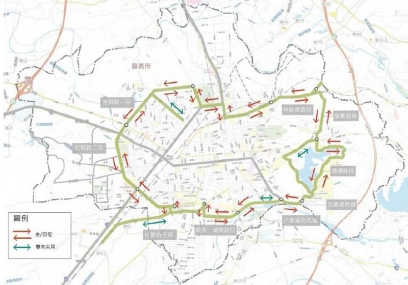 嘉義市正在打造的環市自行車道路線。(嘉義市政府提供)