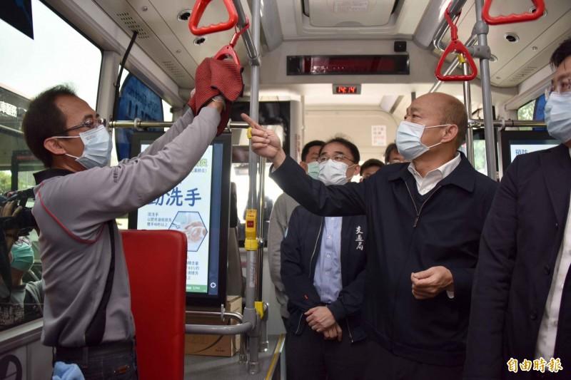 自武漢肺炎疫情傳出以來,高雄市長韓國瑜堅持長戴口罩。(資料照)