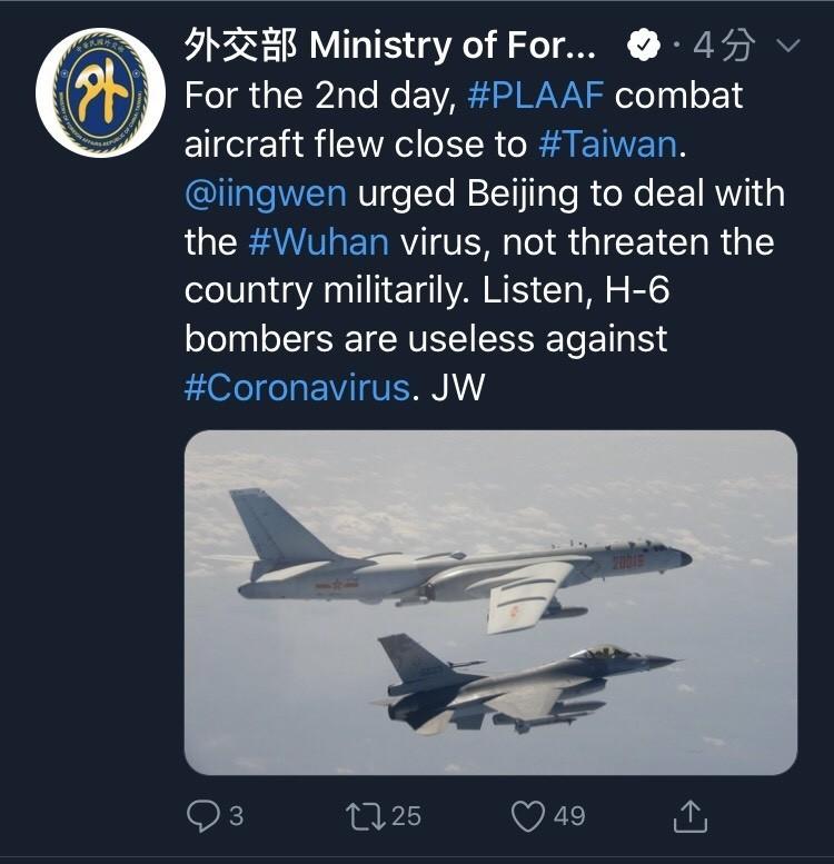 中共連續兩天派出多架軍機繞台,文攻武嚇不斷。外交部長吳釗燮今天再度向中國開砲,嗆聲說「轟六對冠狀病毒無效!」(擷取自推特)