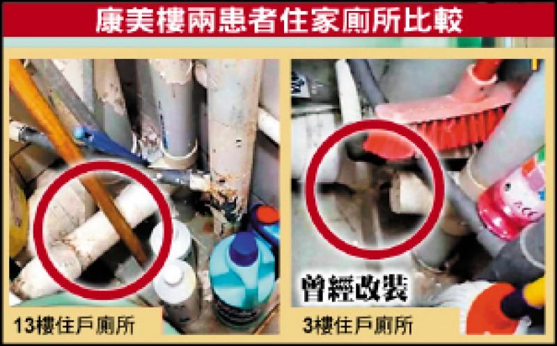 3樓確診病患的住家廁所排氣管曾經改裝,未完全封閉,疑為病毒傳播的途徑。(取自網路)