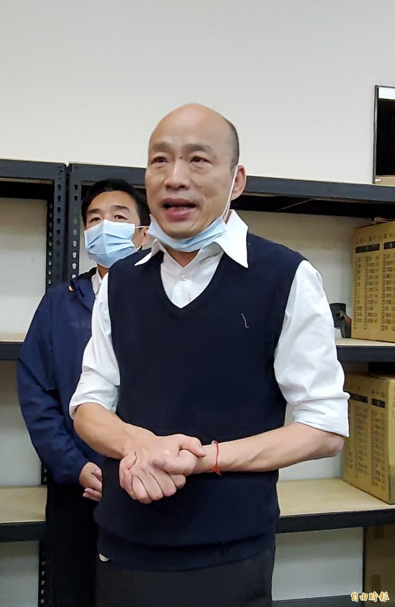 針對罷韓連署達標,市長韓國瑜低調表示謝謝。(記者陳文嬋攝)