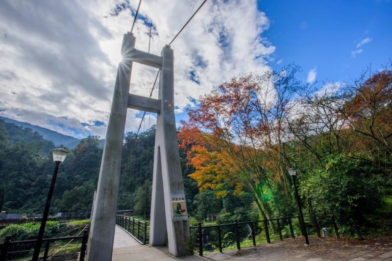 太平山的多望吊橋,藏有情人節關鍵字。(羅東林管處提供)