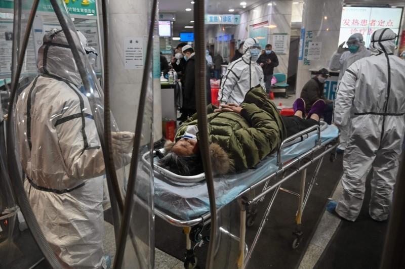 圖為武漢醫院一景。(資料照,法新社)