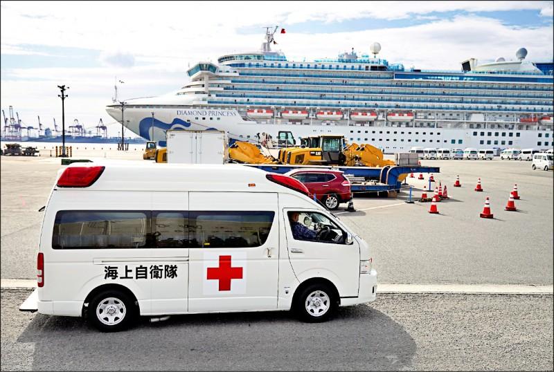 「鑽石公主號」昨再新增卅九人確診武漢肺炎,累計一七四名乘客和船員感染。(歐新社)