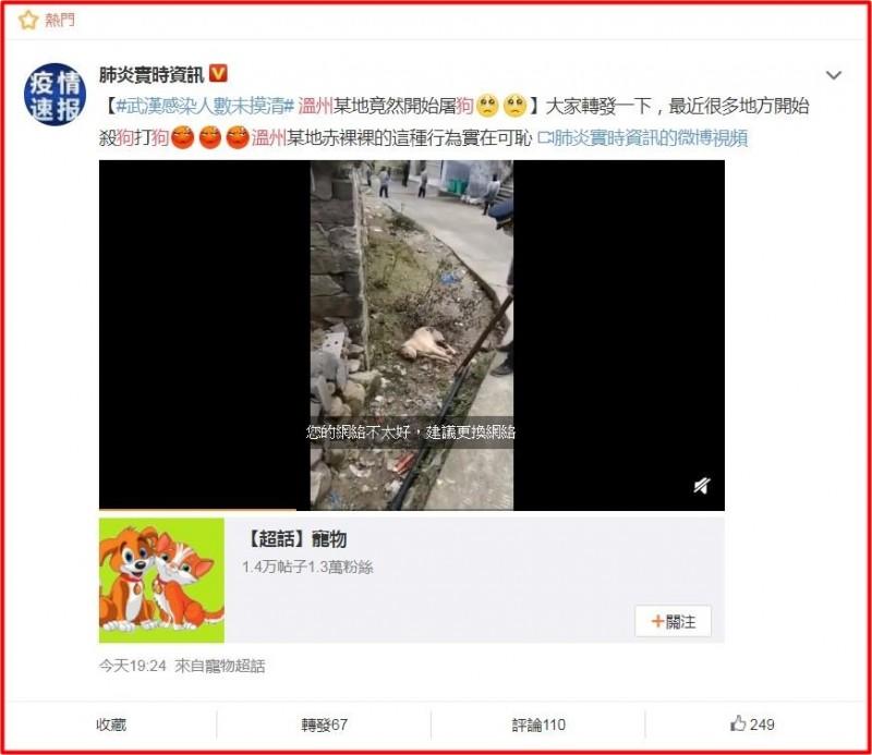 中國溫州永嘉屠狗事件在微博瘋傳,引發中國網友憤怒。(圖取自微博)